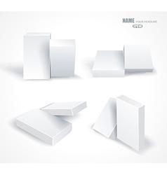 Set blank white boxes isolated on white vector image