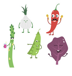 set of funny characters from vegetables 3 vector image