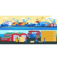 Shipping Logistic Horizontal Banners vector
