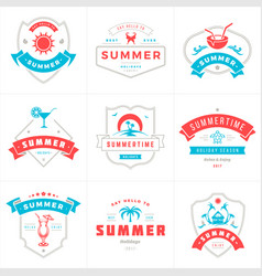 summer holidays labels and badges typography vector image