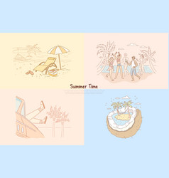summer time students having beach party vector image