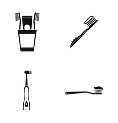 toothbrush icon set simple style vector image