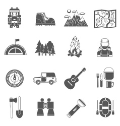 Tourism Icons Black vector image