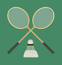 two crossed badminton rackets and white vector image