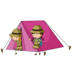 Two kids in pink tent vector