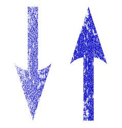 Vertical exchange arrows grunge textured icon vector