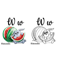 watermelon alphabet letter w coloring page vector image