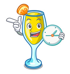 with clock mimosa character cartoon style vector image