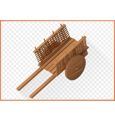 Wooden wheelbarrow isometric 3d vector