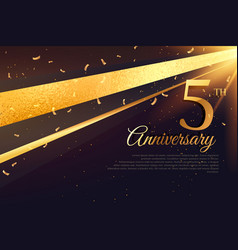 5th anniversary celebration card template vector image vector image