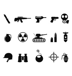 Black Military and Army Icons set vector image vector image