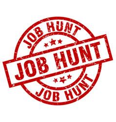 Job hunt round red grunge stamp vector