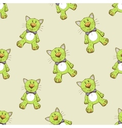 Seamless pattern with green cat vector