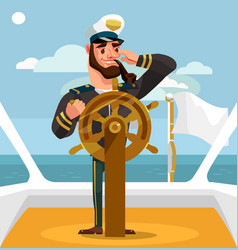 smiling happy captain character helm vector image vector image