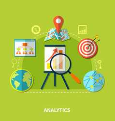 web analytics symbols composition vector image vector image