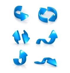 Blue arrows set vector image vector image