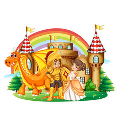 knight and princess at the palace vector image vector image