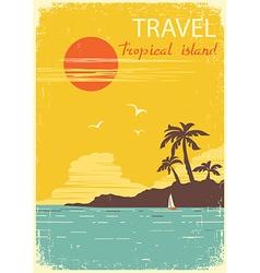 tropical island paradise summer sun poster vector image