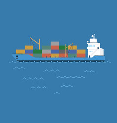 barge cargo ship transporting vector image