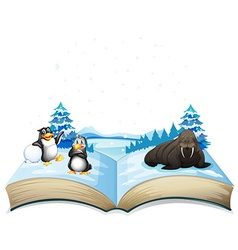 Book of sea lion and penguins on ice vector image