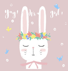cute white bunny on baby shower card invitation vector image vector image