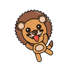 drawing lion animal character vector image