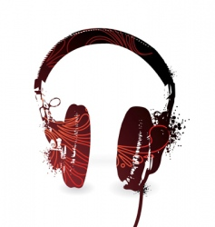 floral headphones vector image vector image