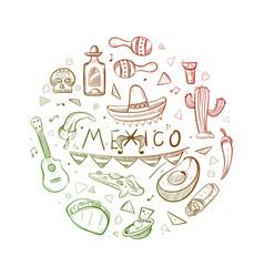 hand drawn mexican symbols - sketch mexico logo vector image vector image