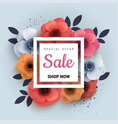 modern wanner with red paper flowers for spring vector image