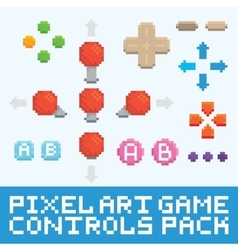 Pixel art game controls and buttons set vector image vector image