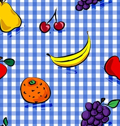 Seamless grungy fruits over blue gingham pattern vector image vector image