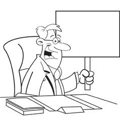 Cartoon businessman holding a sign vector image