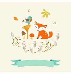 Cute autumn card vector