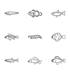 Fish icons set outline style vector image vector image