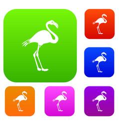 flamingo set collection vector image