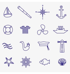 nautical blue simple outline icons set eps10 vector image vector image