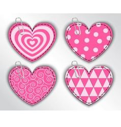 paper hearts with different patterns vector image vector image