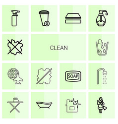 14 clean icons vector