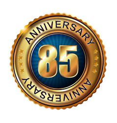 85 years anniversary golden label vector