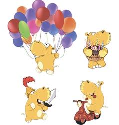 A set of hippopotamuses cartoon vector image