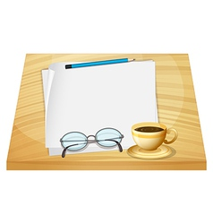 A table with empty pieces of papers vector image