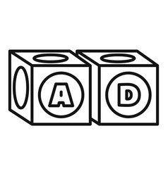 alphabet cube icon outline style vector image