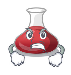 Angry wine decanter on the table cartoon vector