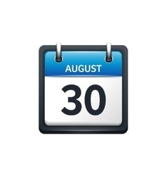 August 30 Calendar icon flat vector image