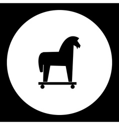 black isolated trojan horse symbol simple icon vector image