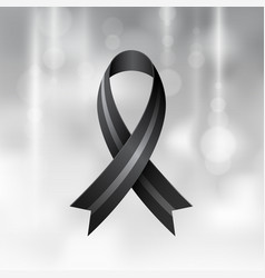 Black ribbon mourning and melanoma symbol vector