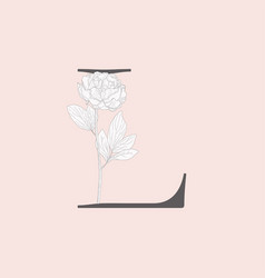 Blooming floral initial l monogram and logo vector