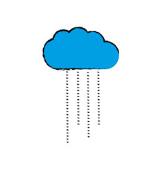 Blue cloud weather line icon isolated vector