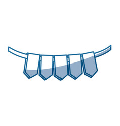 blue color silhouette set of flags in a rope for vector image