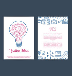 business doodle icons card flyer vector image